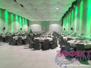 Зелёное оформление помещения для корпоратива